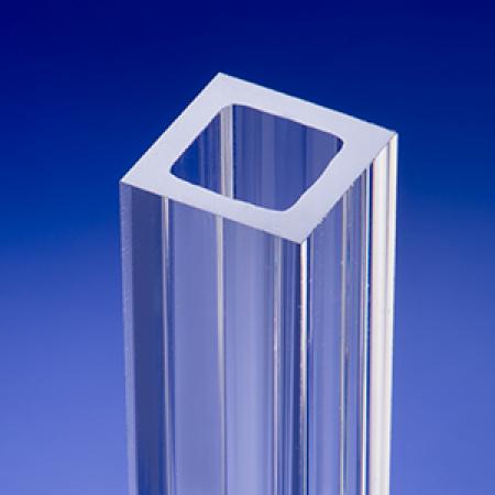 Clear fused quartz square glass tube